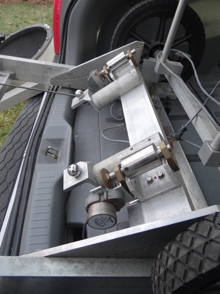 Side view of drive rollers and safety supports