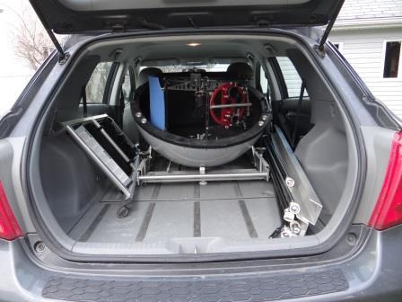 collapsed scope in car with ramps, ladder and truss tubes